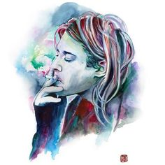 KURT COBAIN NIRVANA watercolor portrait grunge poster, illustration... ❤ liked on Polyvore featuring home, home decor, wall art, art, music, filler, music themed home decor, music wall art, music home decor and music posters