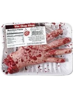 Severed Hand Chopped Novelty Bloody Package Meat Zombie Body Part Halloween Prop #Halloween