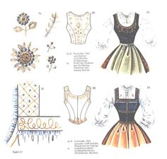 1 a, b festive costume, door and back richly embroidered, Großgerungs 1 c sample of … - Stickerei Ideen Hansel And Gretel Costumes, Drindl Dress, Dress Patterns, Sewing Patterns, Oktoberfest Costume, Couture Sewing Techniques, German Fashion, Folk Fashion, Costume Contest