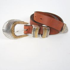 natural harness leather southwestern 90s vintage ladies belt with sunburst silver and gold buckle by JennyandPearl on Etsy