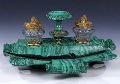 Malachite Inkwell Stand Russian Imperial Stonecut