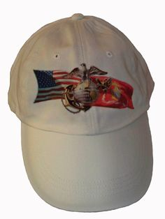 White Baseball Hat that matches the Marine Corp Salute Rear Window Graphic mural design. Also offer a matching coffee cup mug.