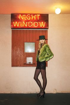 Valentino jacket, $23,000, thefursalon.com; Dolce & Gabbana dress, $3,295, and briefs, $295, 877-70-DGUSA; Saint Laurent by Hedi Slimane hat, $990, scarf, $325, and shoes $1,295, 212-980-2970; Jessie Western belt, $1,069, jessiewestern.com; Wolford tights, similar styles available at wolford.com.