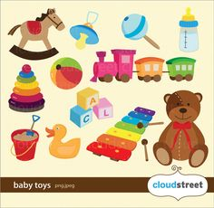 buy 2 get 1 free baby toys clipart for personal and commercial use ( baby clip art ) INSTANT DOWNLOAD