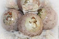 Купить Елочные шары «Нежный винтаж» - кремовый, бежево-коричневый, розовый, бежевый