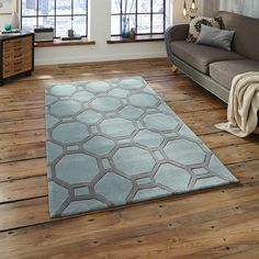 blue grey kitchens The Hong Kong rug collection is handmade in China and offers a luxurious, deep, soft Acrylic pile. The contemporary Geometric design in Blue and Grey i Teal Rug, Grey Rugs, Hong Kong, High Pile Rug, Elderly Home, Hemnes, Machine Made Rugs, Living Room Carpet, Living Rooms