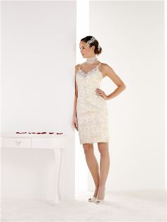 Fitted Column Sweetheart Lace Applique Beaded Wedding Dress With Spaghetti Straps