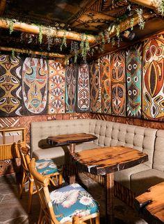 San Diego is now home to a world-class tiki bar—False Idol Restaurant Design, Restaurant Bar, Tiki Art, Tiki Tiki, Tiki Bar Decor, Vintage Tiki, Vintage Cafe, Vintage Ideas, Tiki Lounge