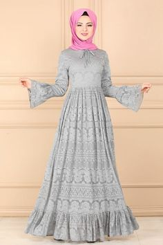 Modaselvim ELBİSE Eteği Fırfırlı Dantel Elbise 81611-5BN105 Gri Plain Dress, Hijab Dress, Hijab Fashion, Satin, Dresses With Sleeves, Lace, Long Sleeve, Club, Women's Work Fashion