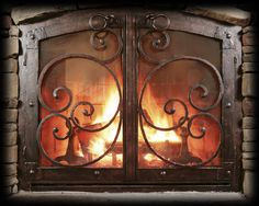 Fireplace, Interesting Classic Custom Iron Fireplace Screens With Doors For Fire Protection: Interior Decor With Cool Custom Fireplace Screens With Doors Design Fireplace Screens With Doors, Custom Fireplace Screens, Fireplace Doors, Brick Fireplace Makeover, Fireplace Cover, Home Fireplace, Fireplace Inserts, Fireplace Design, Fireplace Mantels