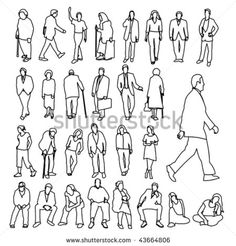 Lots of People Line Style Drawing - stock vector
