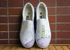 The Little Prince. Hand painted shoes. Cartoon shoes. Antoine de Saint-Exupéry. The Little Prince slippers. Le Petit Prince