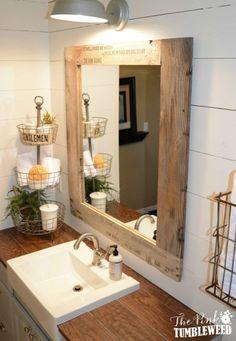 Diy bathroom mirror frame ideas rustic bathroom more home decorators collection ceiling fan Diy Mirror Frame Bathroom, Farmhouse Bathroom Mirrors, Bathroom Counter Decor, Rustic Mirrors, Home Decor Mirrors, Tiny House Bathroom, Wood Bathroom, Bathroom Design Small, Bathroom Ideas