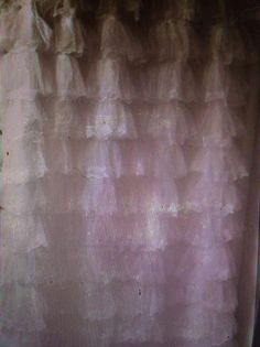 Shabby glam French romantic  white tulle lace shower curtain-Oodles of ruffles!