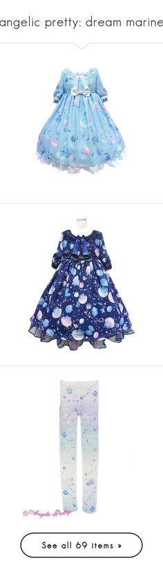 """angelic pretty: dream marine"" by scoutvenus ❤ liked on Polyvore featuring dresses, lolita, op, intimates, hosiery, tights, angelic pretty, lolita socks, socks and jsk"