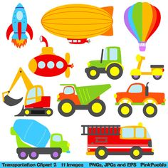 Our Transportation 2 Clipart set includes 11 PNG files with transparent backgrounds, 11 JPG files with white backgrounds and 1 Adobe Illustrator Vector Clipart, Vector File, Party Banners, Craft Items, Handmade Crafts, Baby Quilts, Embroidery Patterns, Transportation, Applique