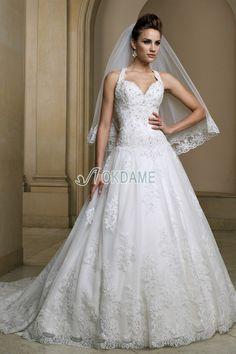 Niedrige Taille Elegantes formelles romantisches Brautkleid mit Schleier ohne Ärmeln
