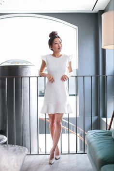 From desk to dinner: White ruffle dress + drape jacket (Extra Petite) White Dress Outfit, White Ruffle Dress, Draped Dress, Dress Outfits, White Dress Casual, Work Outfits, White Dress Shoes, Club Outfits, Spring Outfits