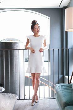 Express white dress ruffle bachelorette | extra petite blog
