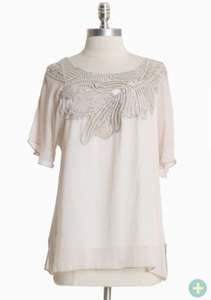 """Ethereal Moonlight Curvy Plus Top 34.99 at shopruche.com. We adore this soft cream chiffon top polished with romantic crochet details and whimsical flutter sleeves. Includes removable knit tank. Semi-sheer.95% Polyester, 5% Rayon, Made in USA, 27"""" length from top of shoulders"""