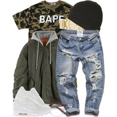 A fashion look from January 2017 featuring A BATHING APE t-shirts, NIKE sneakers and Michael Kors watches. Browse and shop related looks.