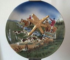 the bms Paint Splash Fox Hunting hand painted Plate.    #paintedplate #foxhunting #foxandhound #fox #hound