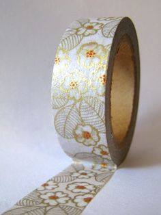 "Washi Tape ""Golden Blossom""...Washi Tape for Scrapbooking, Card Making, Paper Crafts"