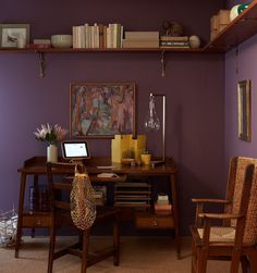 Purple Rooms to Inspire – Home Design with Kevin Sharkey Guest Room Office, Home Office, Martha Stewart Home, Purple Walls, Dark Purple Bedrooms, My New Room, Interiores Design, Decoration, Home Projects