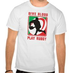 "Rugby player passing ball front give blood play tshirt. illustration of a Rugby player passing ball facing front in silhouette with ball in background with words ""give blood play rugby"". #illustration #Rugby #rwc #rwc2015 #rugbyworldcup"