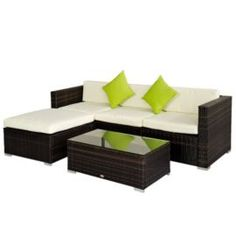 Rattan Garden Furniture Tesco borneo 5 piece sofa set - light brown | gardens, shops and home