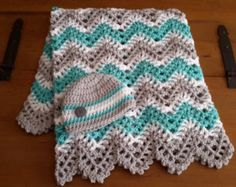 baby girl, baby boy, chevron, ripple, baby, crochet blanket, afghan crochet, crocheted blanket, crocheted afghan, turquoise, grey & white