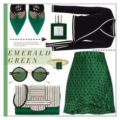 """Emerald City: Pops of Green"" by pat912 ❤ liked on Polyvore featuring Michino, Valentino, Jacques Marie Mage, Karen Millen, Eight & Bob, emeraldgreen and polyvoreeditorial"
