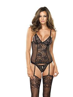Leg Avenue Womens Vixen 2 Piece Cami Garter Set BlackGold Medium -- You can find out more details at the link of the image.