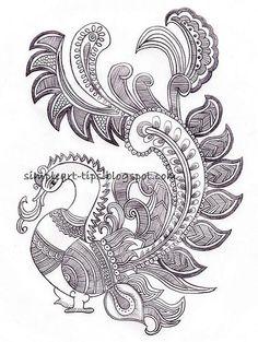 simple art and craft: Madhubani Worli Painting, Saree Painting, Kalamkari Painting, Kerala Mural Painting, Madhubani Painting, Fabric Painting, Painting Styles, Peacock Drawing, Peacock Painting