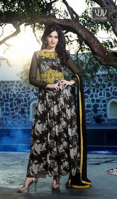 Amazing Black Printed Georgette Anarkali Casual Salwar Suit Amazing black georgette anarkali casual salwar suit with printed, resham, lace and patch border work.