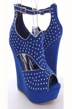 Metallic Trim Studded Wedge comes in a variety of colors.