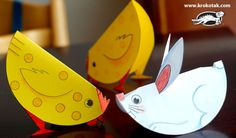 Easy-To-Build Paper Animals For Little Kids - by Krokotak - == -  In this Russian educational website called Krokotak you will find this cool project with templates of cute animals to cut and fold, perfect for little kids.