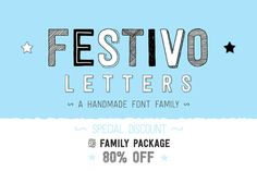 Festivo Font Family is a handmade layered font which includes several textures, shadows. Different font types can be created using various combinations of Festivo Fonts and colors.