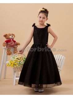 Satin and Organza Bateau Neckline Ankle-Length Ball Gown Flower Girl Dress