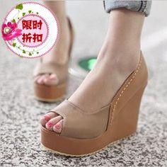新款2013甜美特价夏季女鞋罗马风格坡跟鱼嘴鞋拼色高跟厚底凉鞋子-淘宝网