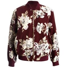 Sans Souci Burgundy lightweight floral bomber jacket (€49) ❤ liked on Polyvore featuring outerwear, jackets, burgundy, bomber jacket, red jacket, blouson jacket, zipper jacket and floral print jacket