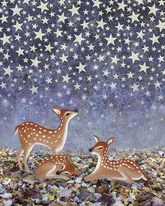 Whitetail cerbiatti sotto le stelle firmato illustrazione
