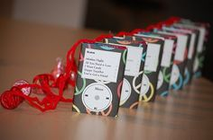 "The ""ilove"" valentines favors made to look like ipods!  Kids love these!"