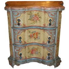 19th C Venetian Painted Night Stand  So pretty, but alas - SOLD.