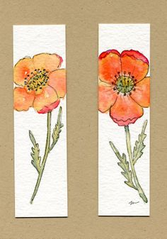 Watercolor and ink poppy bookmarks.
