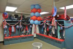 Image result for football locker decorations Soccer Locker, Sports Locker, Basketball Mom, Soccer Room, Sports Mom, Locker Room Decorations, Volleyball Locker Decorations, Volleyball Ideas, Football Spirit