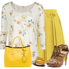 Inspiration to wear my strapless top in this pattern with mustard/yellow capris and/or skirts