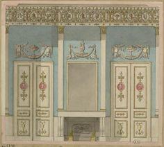 [Cheminée entre deux portes, corniches à médaillons] | Centre de documentation des musées - Les Arts Décoratifs