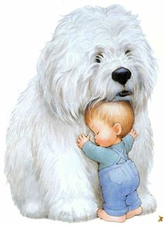 We have room at the Cottage for everyone's pets. Why does the littlest Grand-darling always choose the biggest pupper? Cartoon Pics, Cute Cartoon, Baby Animals, Cute Animals, Baby Painting, Tatty Teddy, Baby Art, Cute Illustration, Cute Drawings
