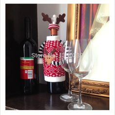 2 unids Decoración de Navidad Rojo Ropa Con Sombreros Tapas de Botellas de Vino…